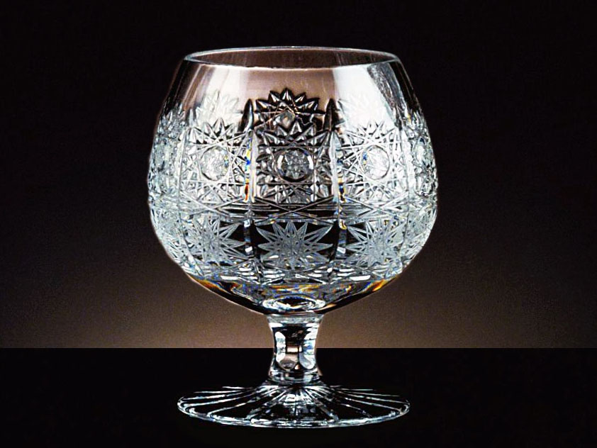 Crystal Bohemia Hand Cut Brandy Goblets Czech Set of 6