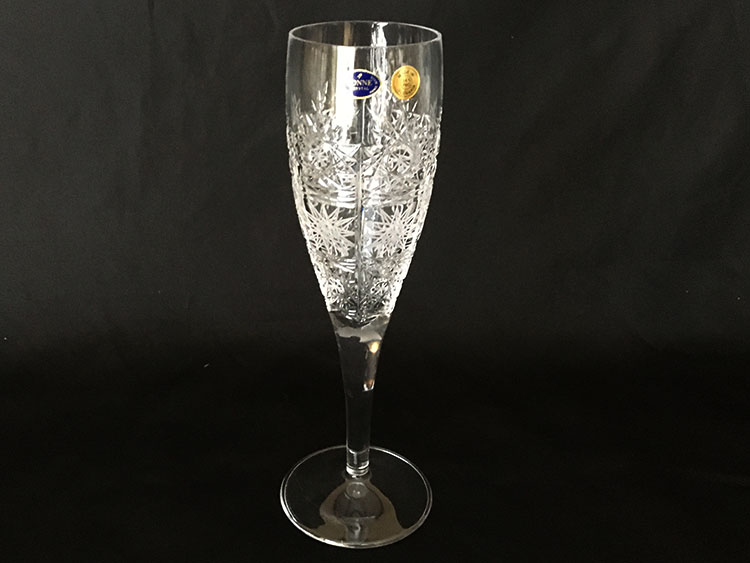 Crystal Bohemia Hand Cut Champagne Goblets Slovakia *Set of 6*