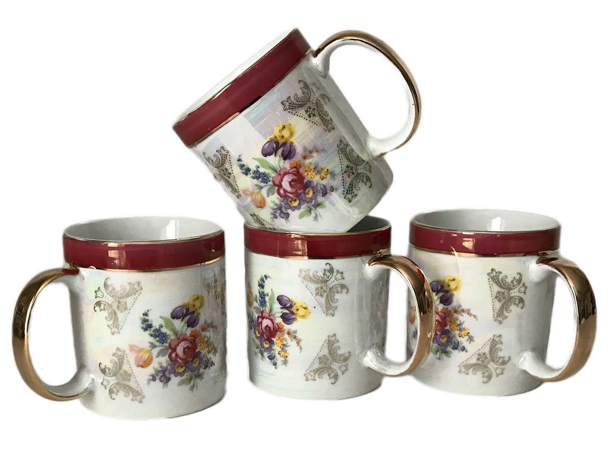 Classic Floral Design Fine Porcelain 24K Gold Plate Set of Four Mugs