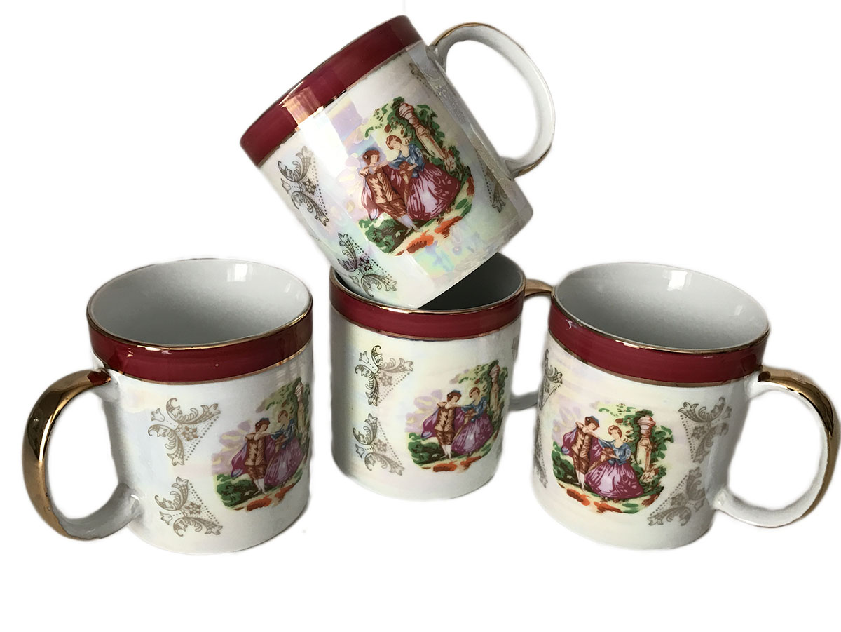 Classic Madonna Fine Porcelain 24K Gold Plate Set of Four Mugs