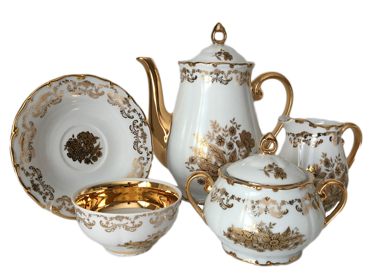 Golden Flower Coffee Set