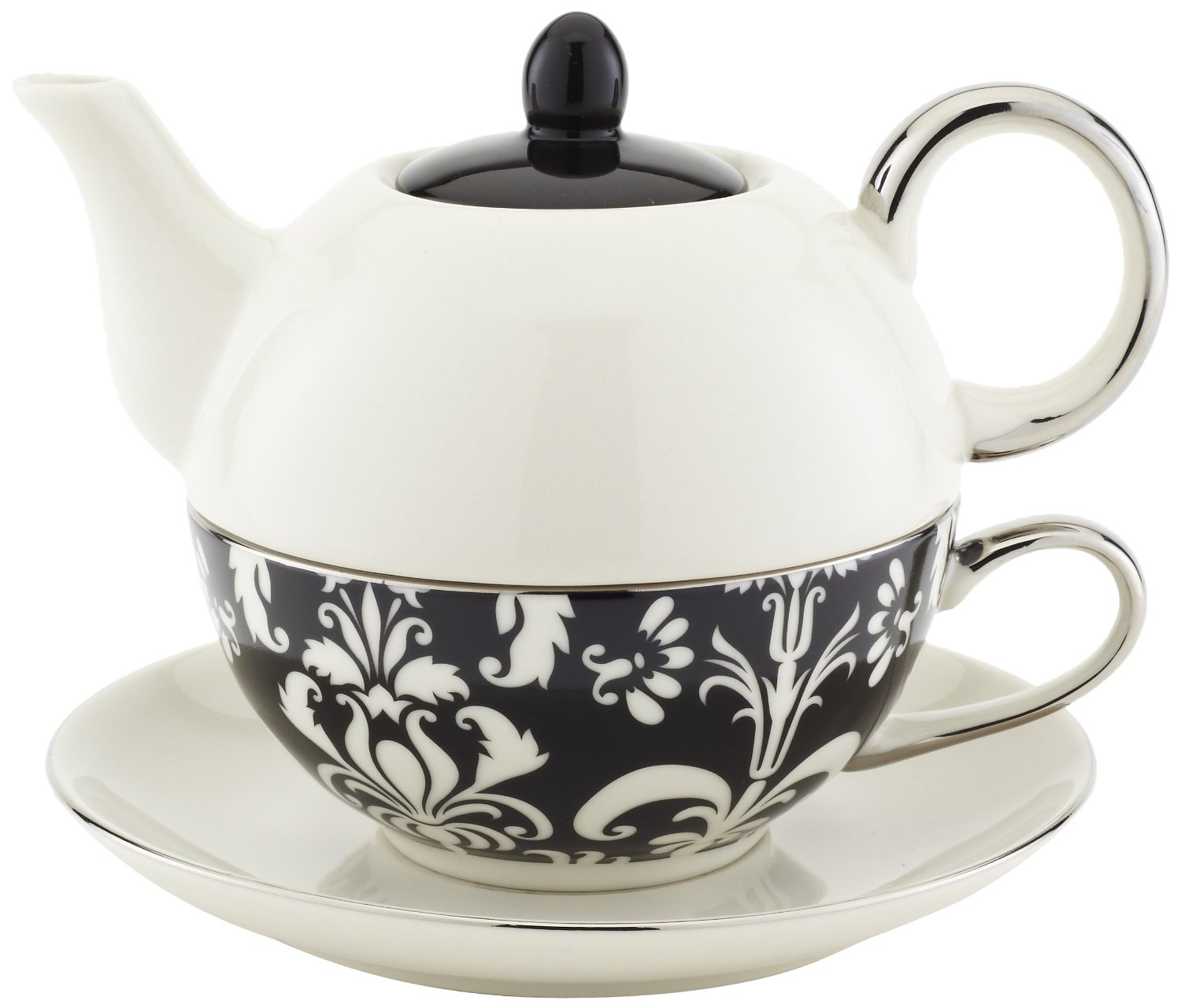 Classic Coffee & Tea Chic Tea Set for One  in White & Black Damask Design