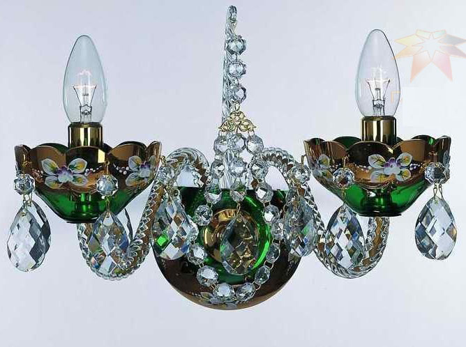Bohemian High Enameled Sconce Green